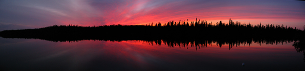 Deepening sunset over Armstrong Lake, Canada